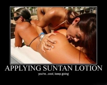 Applying Suntan Lotion